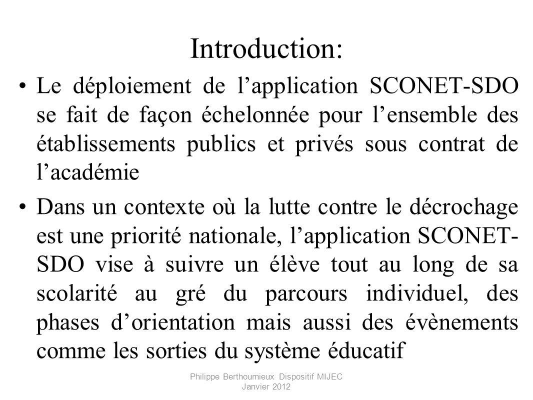 Philippe Berthoumieux Dispositif MIJEC Janvier 2012 Introduction: Le déploiement de lapplication SCONET-SDO se fait de façon échelonnée pour lensemble