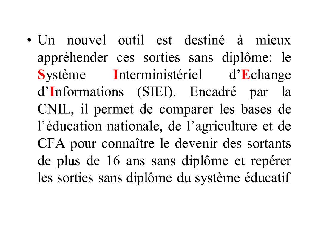 Un nouvel outil est destiné à mieux appréhender ces sorties sans diplôme: le Système Interministériel dEchange dInformations (SIEI). Encadré par la CN