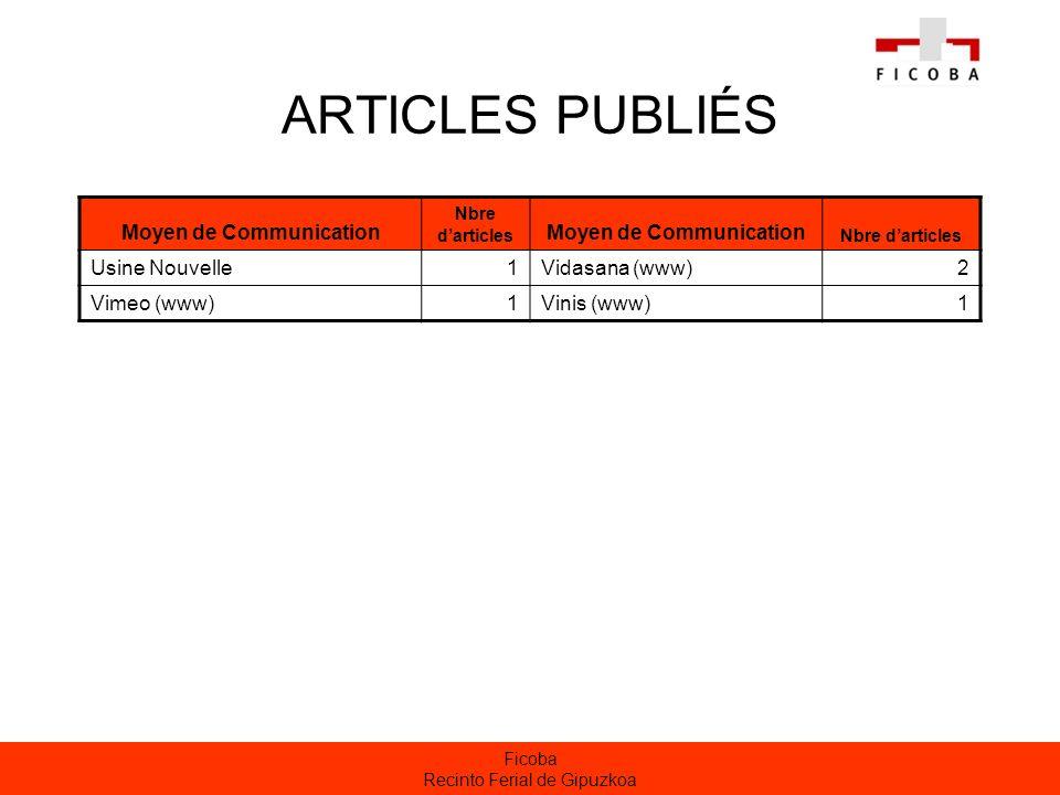 Ficoba Recinto Ferial de Gipuzkoa ARTICLES PUBLIÉS Moyen de Communication Nbre darticles Moyen de Communication Nbre darticles Usine Nouvelle1Vidasana (www)2 Vimeo (www)1Vinis (www)1