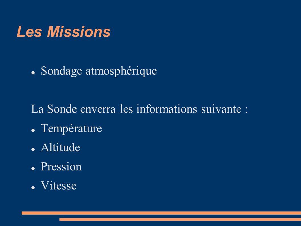 Les Missions Sondage atmosphérique La Sonde enverra les informations suivante : Température Altitude Pression Vitesse