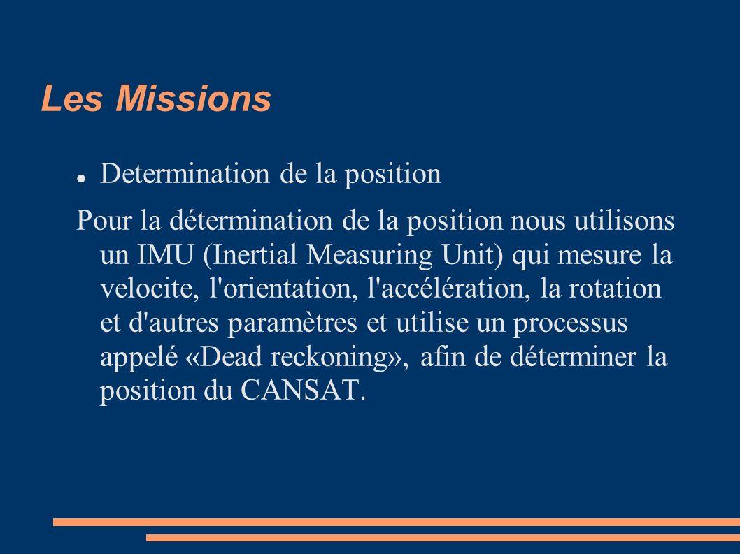 Les Missions Determination de la position Pour la détermination de la position nous utilisons un IMU (Inertial Measuring Unit) qui mesure la velocite, l orientation, l accélération, la rotation et d autres paramètres et utilise un processus appelé «Dead reckoning», afin de déterminer la position du CANSAT.