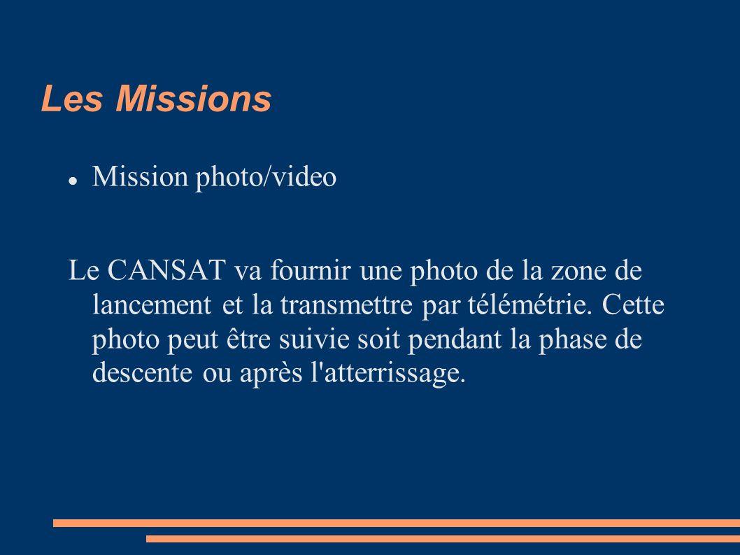 Les Missions Mission photo/video Le CANSAT va fournir une photo de la zone de lancement et la transmettre par télémétrie.