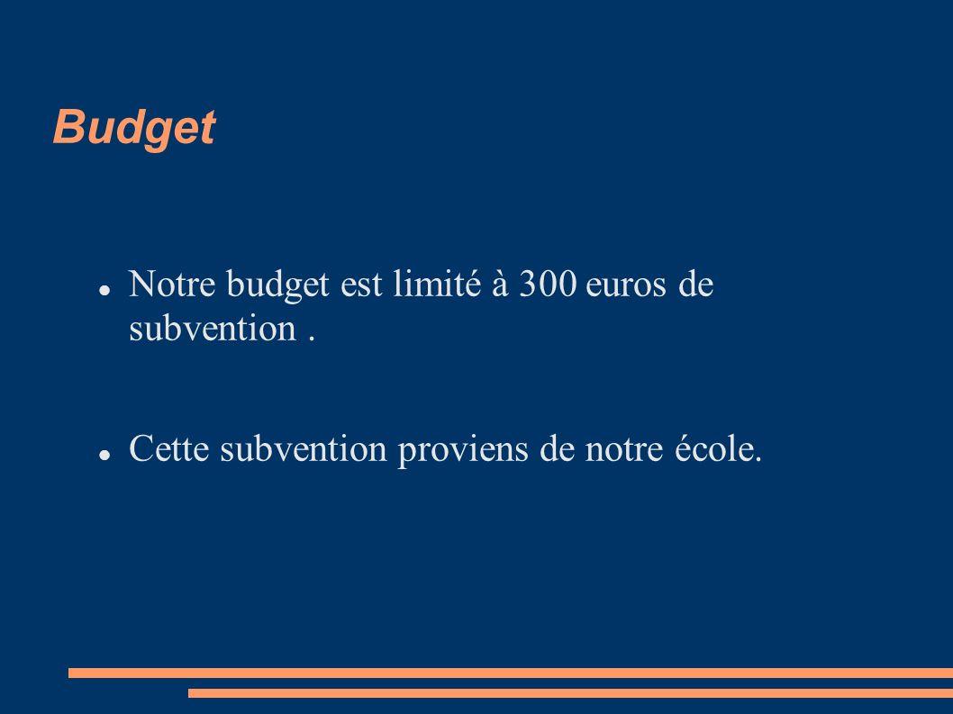 Budget Notre budget est limité à 300 euros de subvention. Cette subvention proviens de notre école.