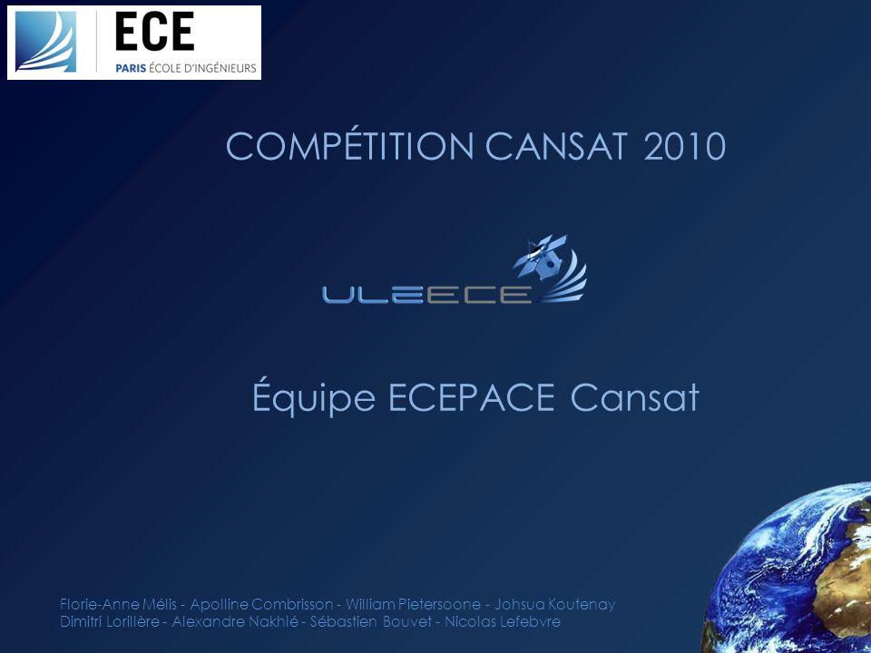 COMPÉTITION CANSAT 2010 Équipe ECEPACE Cansat Florie-Anne Mélis - Apolline Combrisson - William Pietersoone - Johsua Koutenay Dimitri Lorillère - Alex