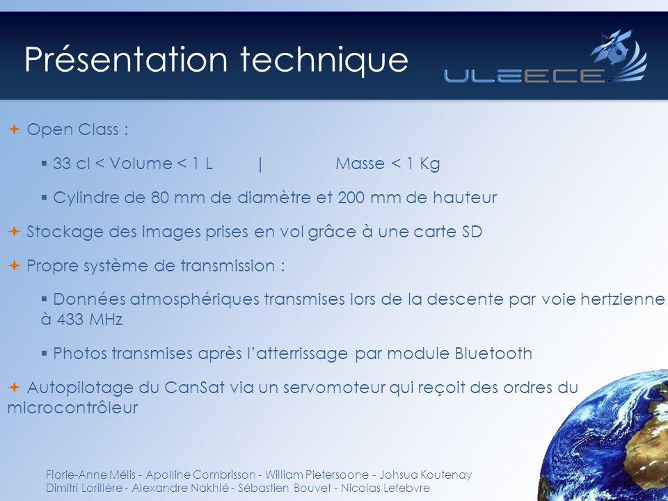 Présentation technique Open Class : 33 cl < Volume < 1 L | Masse < 1 Kg Cylindre de 80 mm de diamètre et 200 mm de hauteur Stockage des images prises