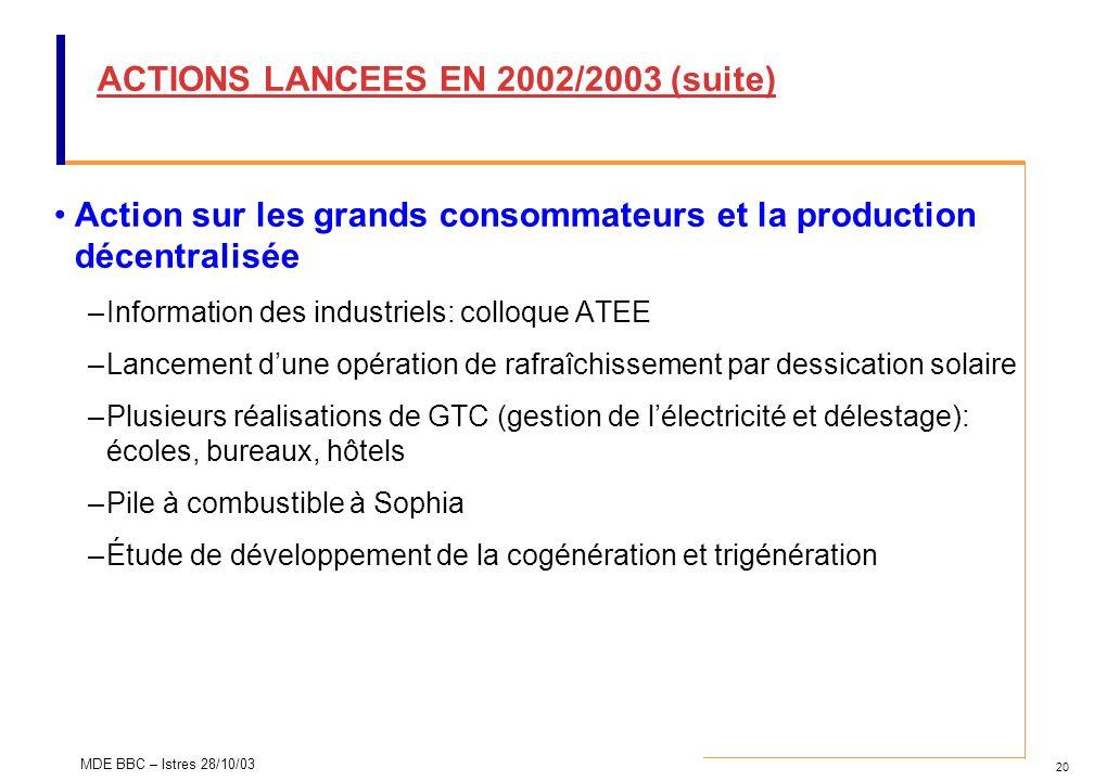 20 MDE BBC – Istres 28/10/03 ACTIONS LANCEES EN 2002/2003 (suite) Action sur les grands consommateurs et la production décentralisée –Information des