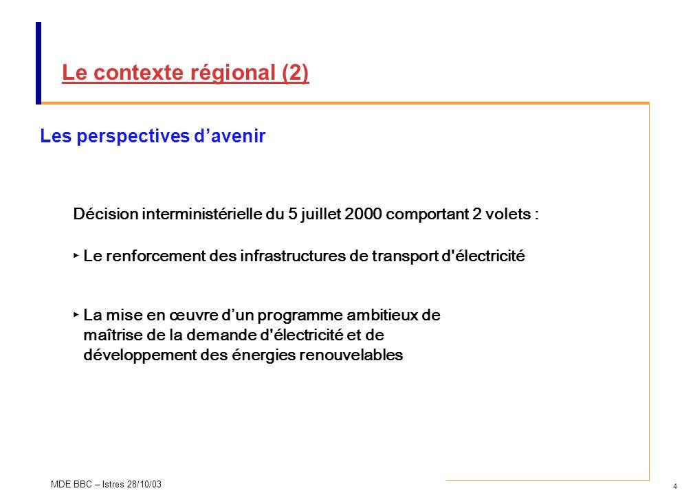 4 MDE BBC – Istres 28/10/03 Le contexte régional (2) Les perspectives davenir Décision interministérielle du 5 juillet 2000 comportant 2 volets : Le r