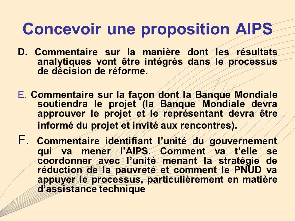 Concevoir une proposition AIPS D.