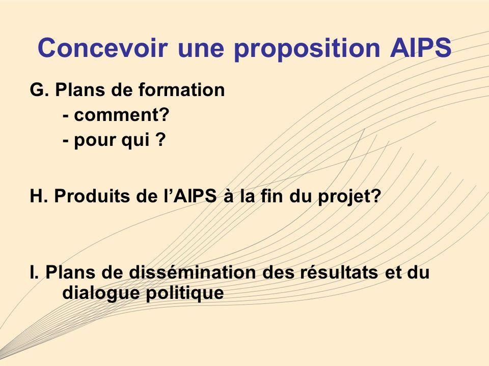 Concevoir une proposition AIPS G. Plans de formation - comment.