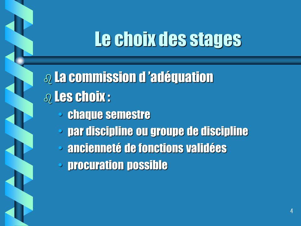 4 Le choix des stages b La commission d adéquation b Les choix : chaque semestrechaque semestre par discipline ou groupe de disciplinepar discipline o