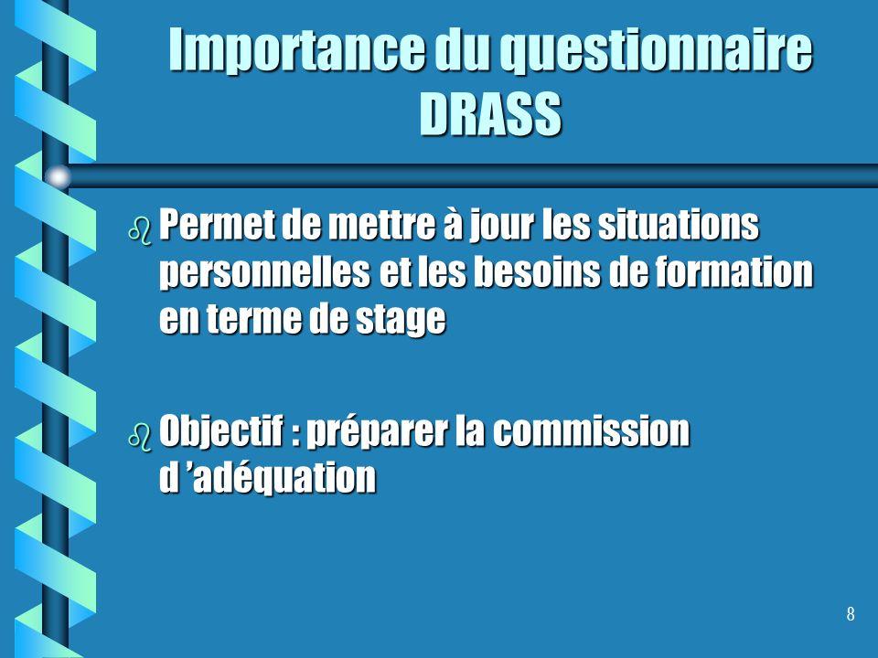 8 Importance du questionnaire DRASS b Permet de mettre à jour les situations personnelles et les besoins de formation en terme de stage b Objectif : p