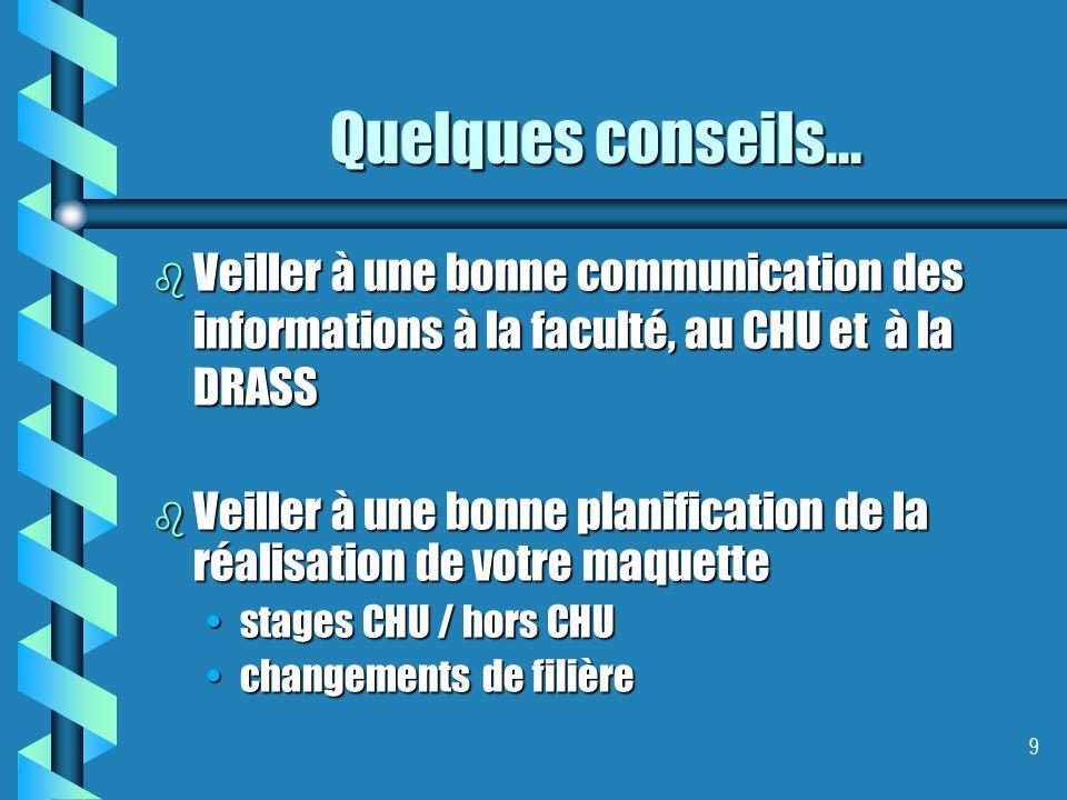 9 Quelques conseils... b Veiller à une bonne communication des informations à la faculté, au CHU et à la DRASS b Veiller à une bonne planification de
