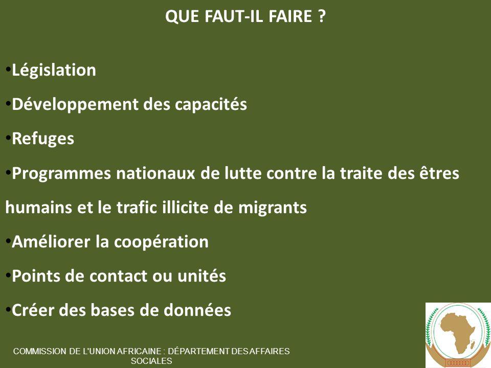 10 COMMISSION DE L UNION AFRICAINE : DÉPARTEMENT DES AFFAIRES SOCIALES QUE FAUT-IL FAIRE .