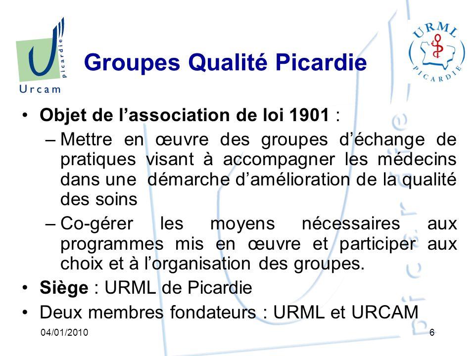 Groupes Qualité Picardie : le pilotage Lassociation loi 1901 : –assure le pilotage du projet au niveau de la région.