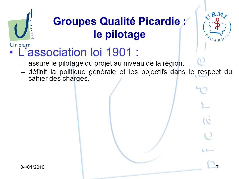 Association URML-URCAM « Association URML-URCAM « Groupes Qualité Picardie » Plan de déploiement en Picardie (étapes et calendrier) Point 3 04/01/201038