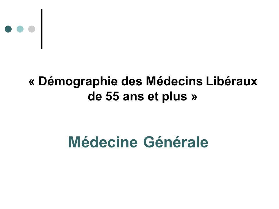 « Démographie des Médecins Libéraux de 55 ans et plus » Médecine Générale
