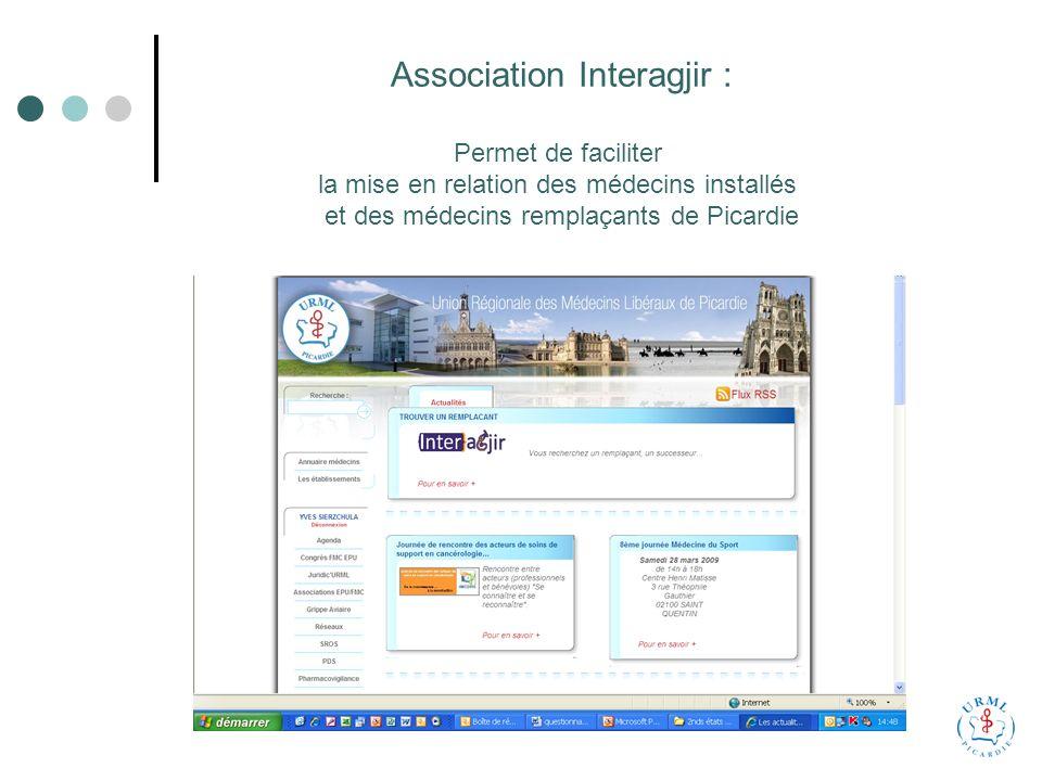 Association Interagjir : Permet de faciliter la mise en relation des médecins installés et des médecins remplaçants de Picardie