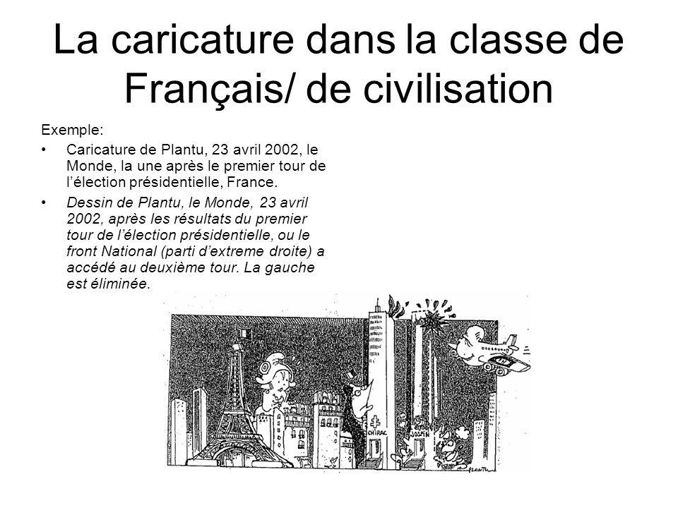 La caricature dans la classe de Français/ de civilisation Exemple: Caricature de Plantu, 23 avril 2002, le Monde, la une après le premier tour de léle