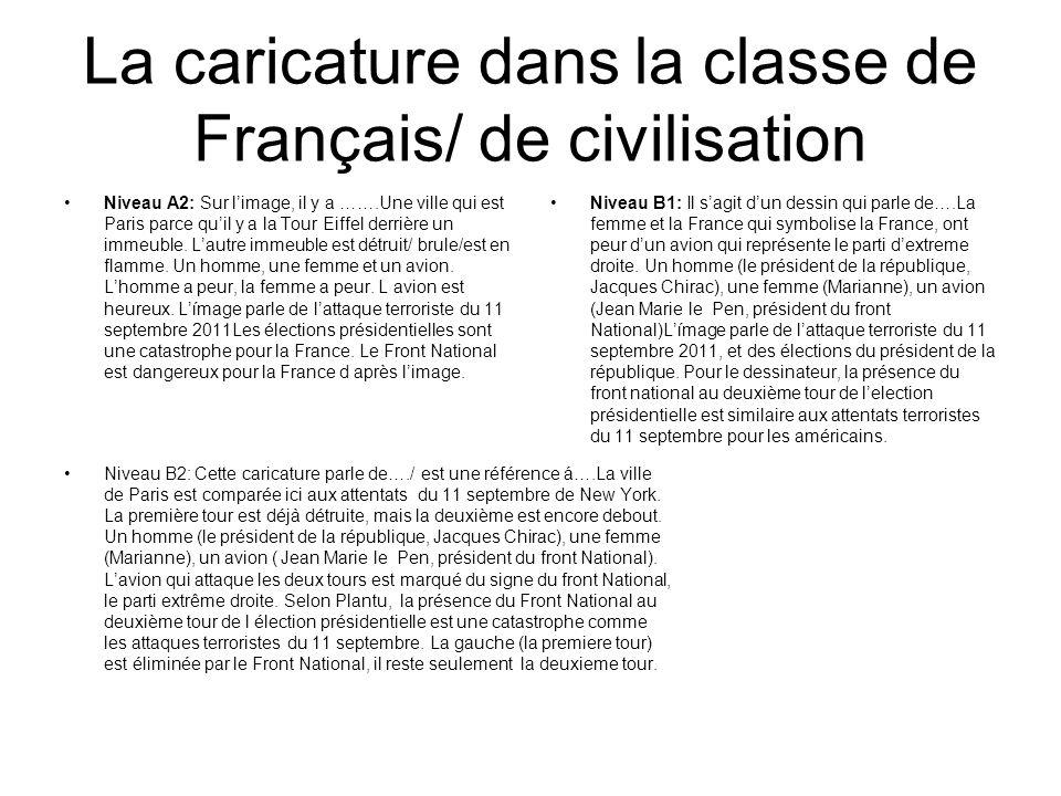 La caricature dans la classe de Français/ de civilisation Niveau A2: Sur limage, il y a …….Une ville qui est Paris parce quil y a la Tour Eiffel derri