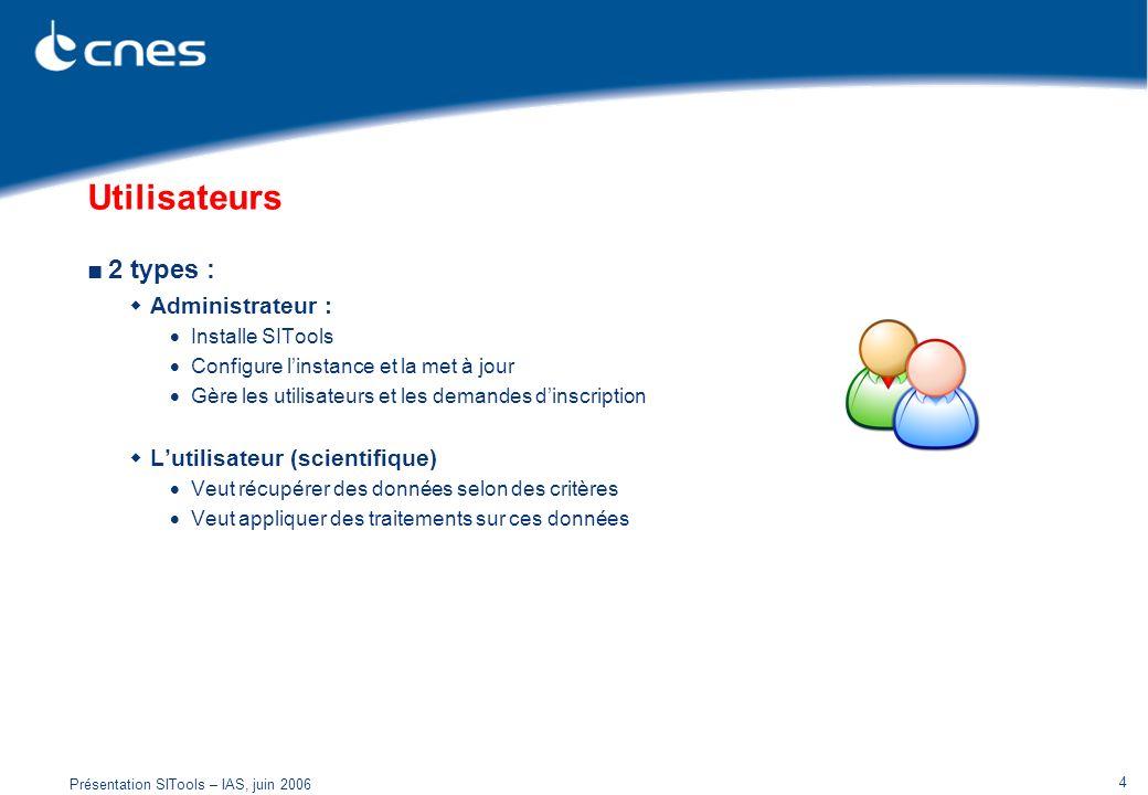 Présentation SITools – IAS, juin 2006 4 Utilisateurs 2 types : Administrateur : Installe SITools Configure linstance et la met à jour Gère les utilisa