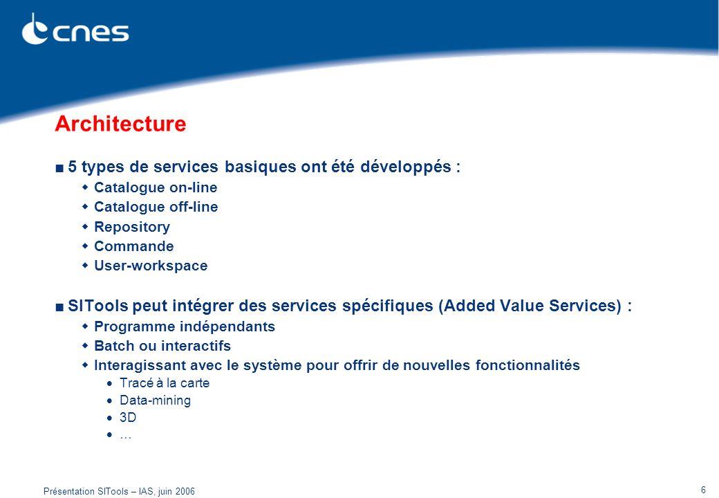 Présentation SITools – IAS, juin 2006 6 Architecture 5 types de services basiques ont été développés : Catalogue on-line Catalogue off-line Repository