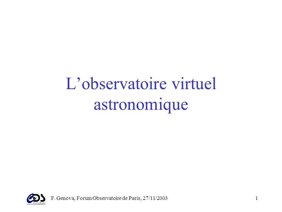 F. Genova, Forum Observatoire de Paris, 27/11/200341 Recherche à partir de texte Ex: magnitude B