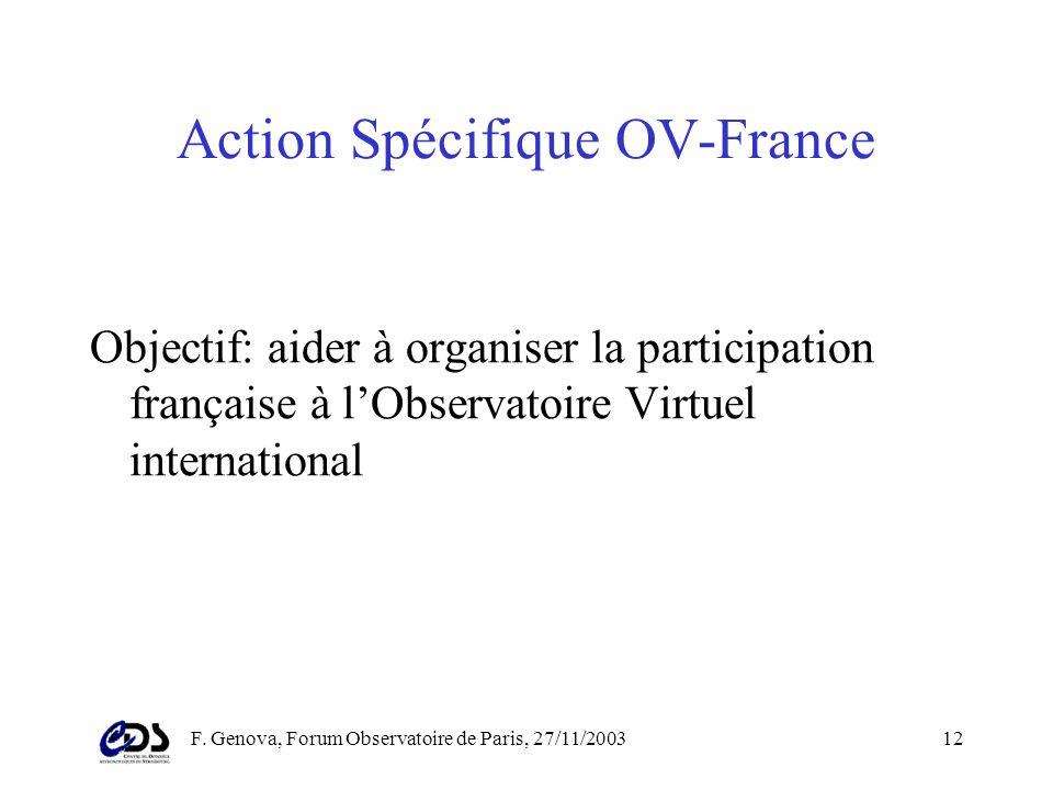 F. Genova, Forum Observatoire de Paris, 27/11/200311 En France (1) En France –Groupe de travail prospective CNES (toutes disciplines) –Groupe de trava