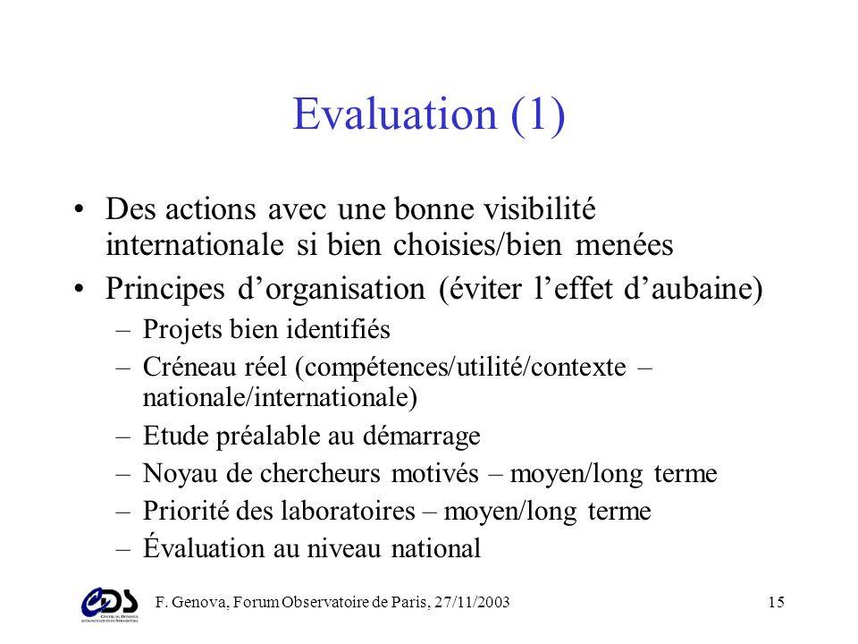 F. Genova, Forum Observatoire de Paris, 27/11/200314 Action spécifique OV-France (2) A affiner dans les mois qui viennent –Interface avec les projets