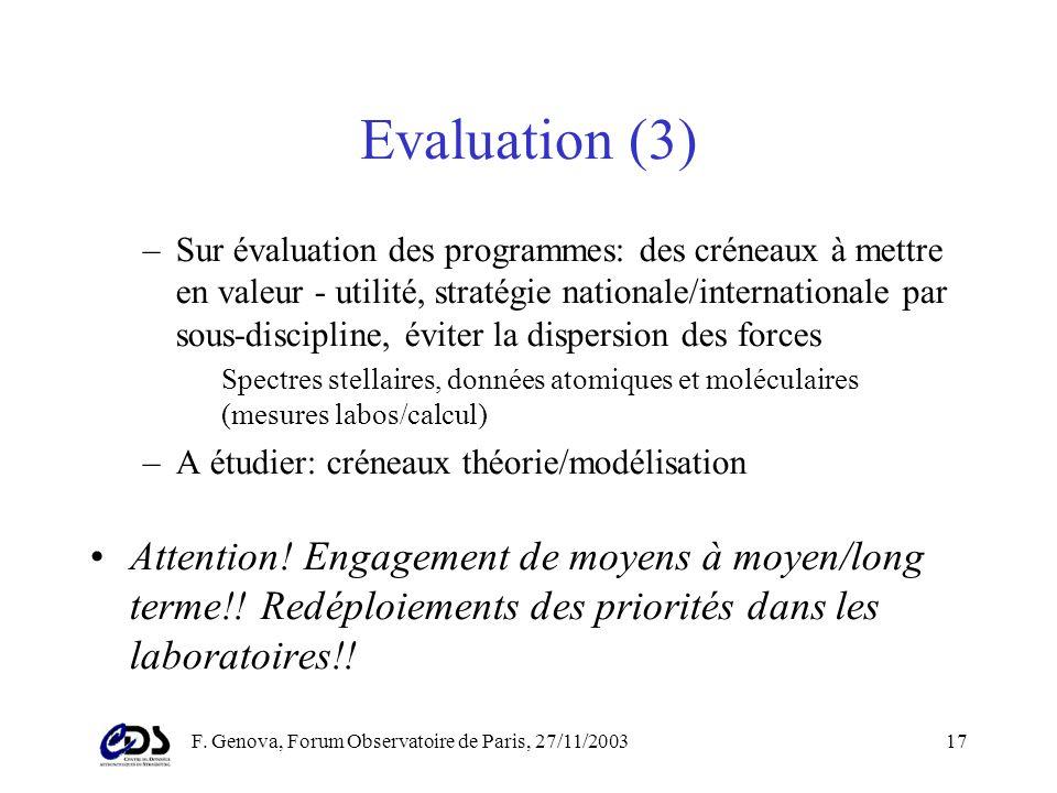 F. Genova, Forum Observatoire de Paris, 27/11/200316 Evaluation (2) Plusieurs niveaux dintervention –Coordination CDS, CDPP, MEDOC/BASS 2000 –Centres