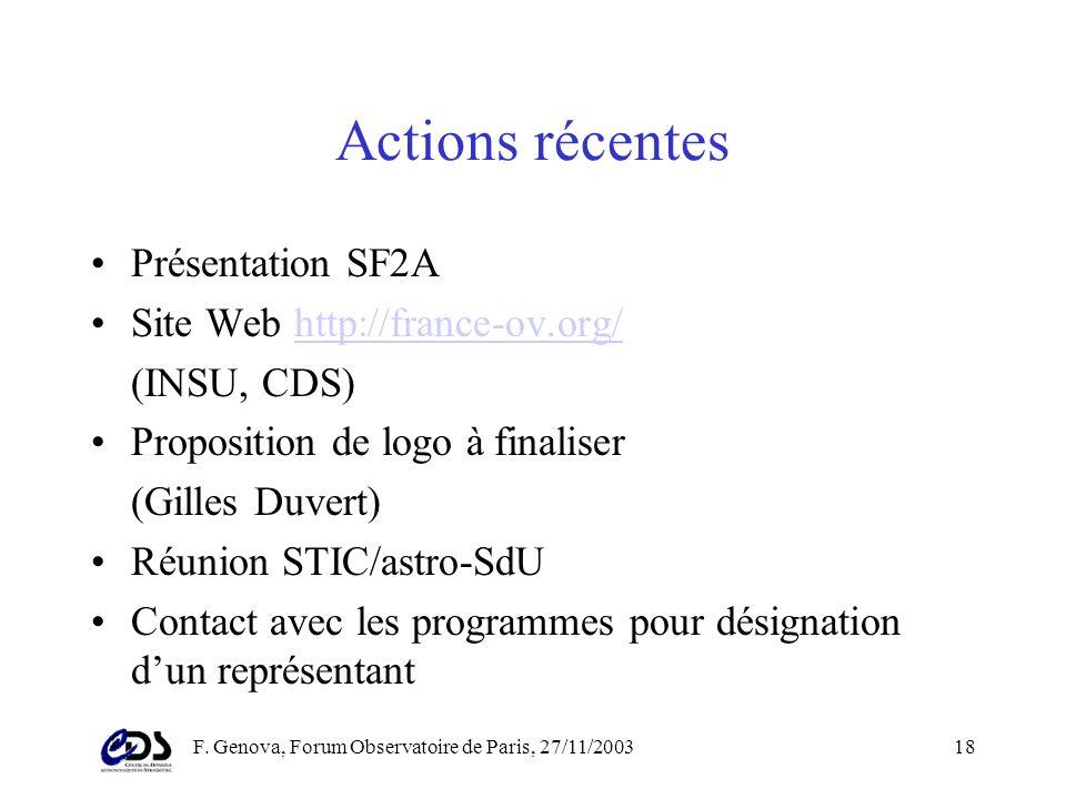 F. Genova, Forum Observatoire de Paris, 27/11/200317 Evaluation (3) –Sur évaluation des programmes: des créneaux à mettre en valeur - utilité, stratég
