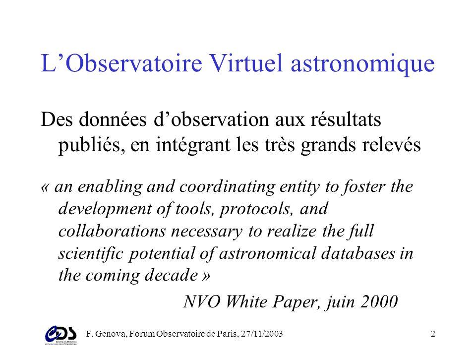 F. Genova, Forum Observatoire de Paris, 27/11/20031 Lobservatoire virtuel astronomique