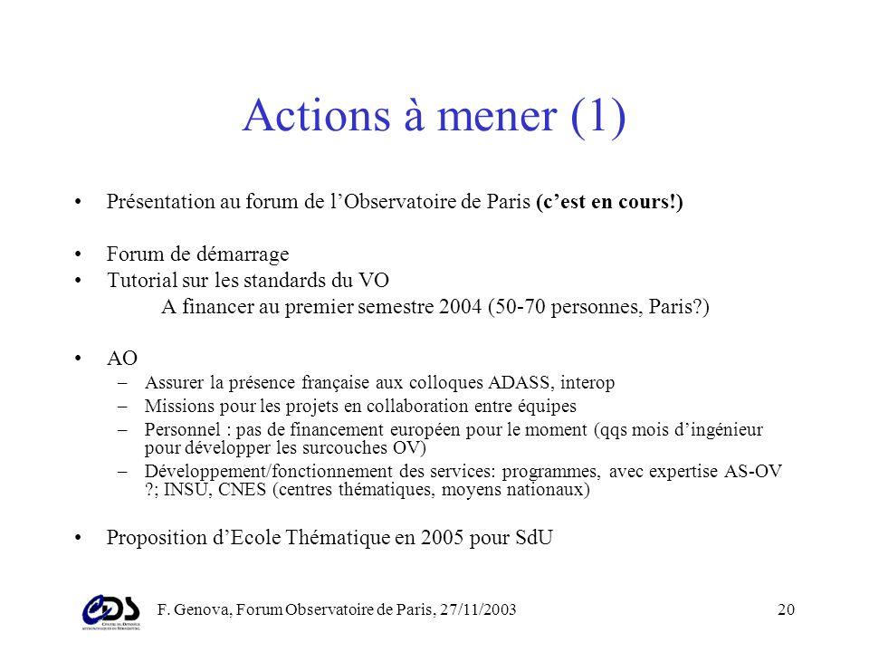 F. Genova, Forum Observatoire de Paris, 27/11/200319