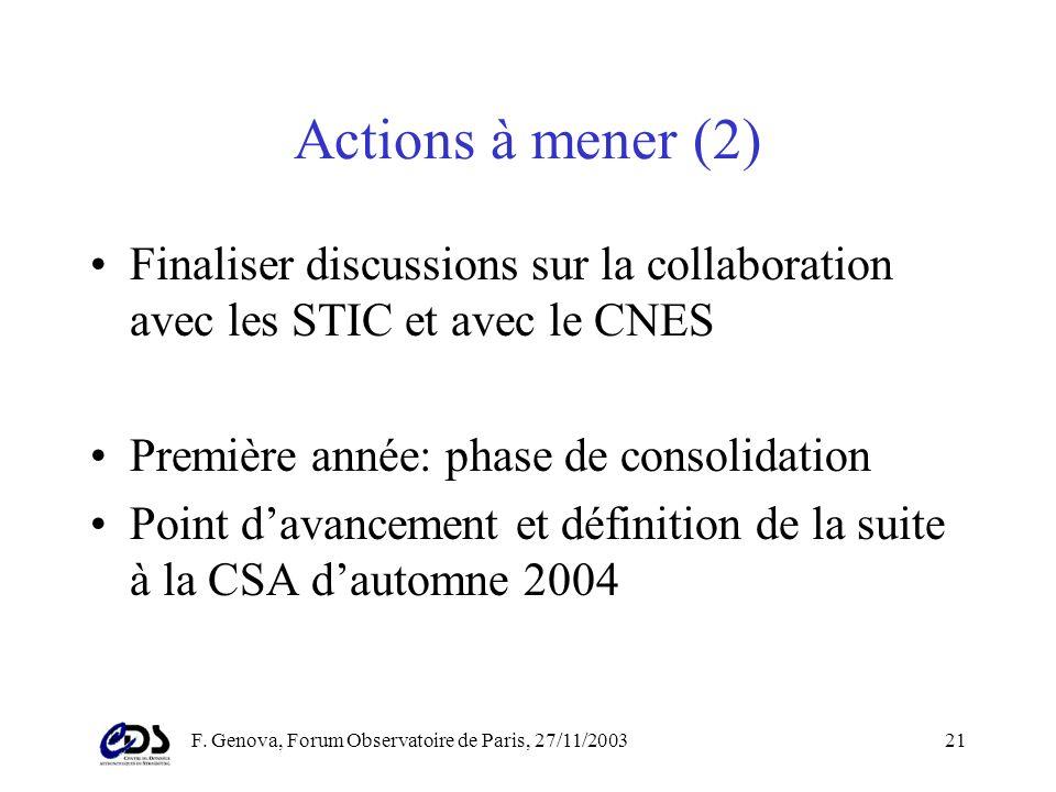 F. Genova, Forum Observatoire de Paris, 27/11/200320 Actions à mener (1) Présentation au forum de lObservatoire de Paris (cest en cours!) Forum de dém
