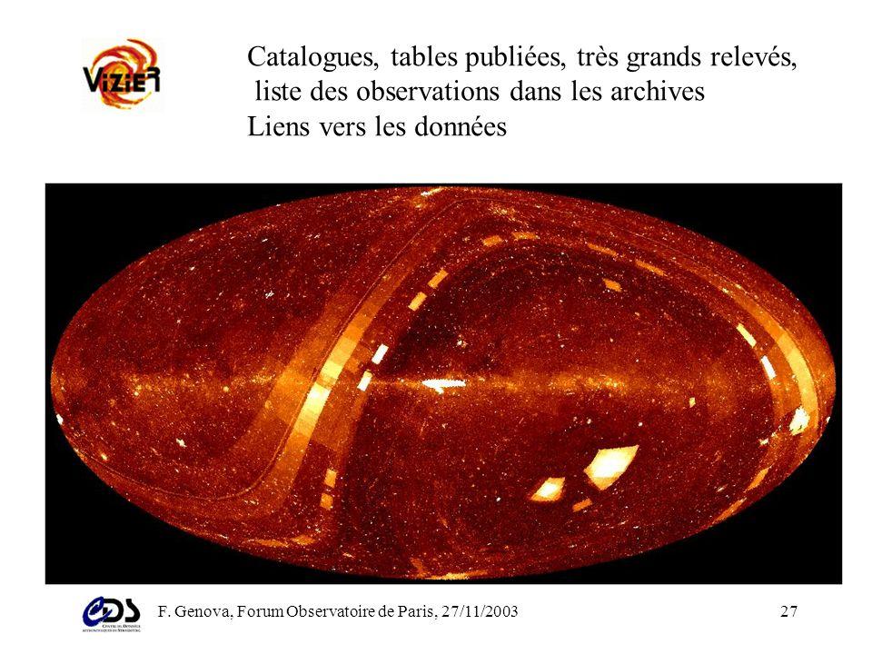 F. Genova, Forum Observatoire de Paris, 27/11/200326