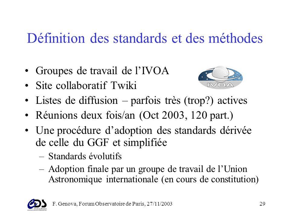 F. Genova, Forum Observatoire de Paris, 27/11/200328