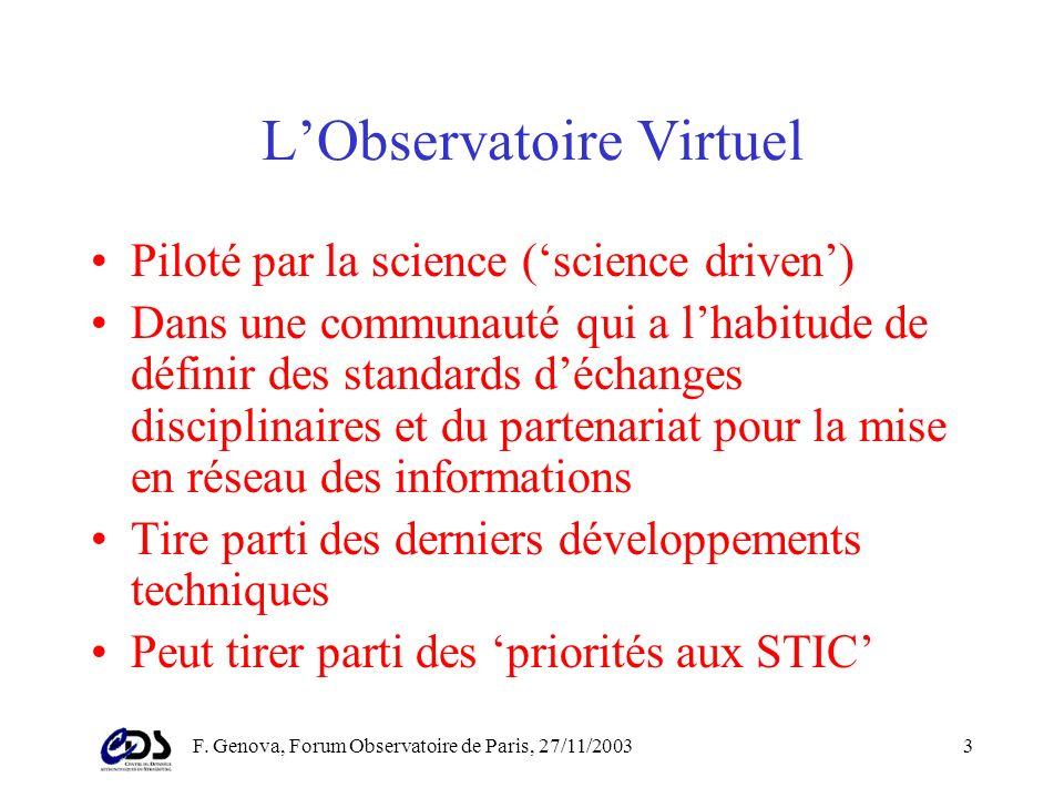 F. Genova, Forum Observatoire de Paris, 27/11/20032 LObservatoire Virtuel astronomique Des données dobservation aux résultats publiés, en intégrant le