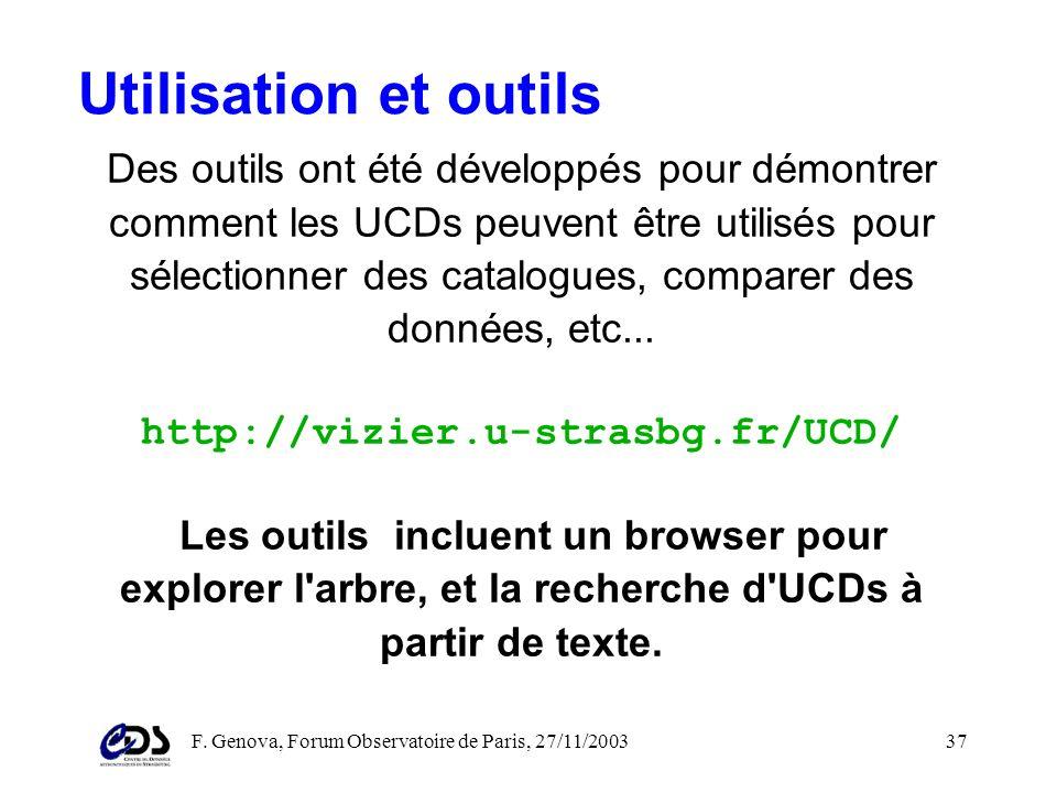 F. Genova, Forum Observatoire de Paris, 27/11/200336 Unified Content Descriptors Les UCDs (Unified Content Descriptors) ont été créés pour fournir une
