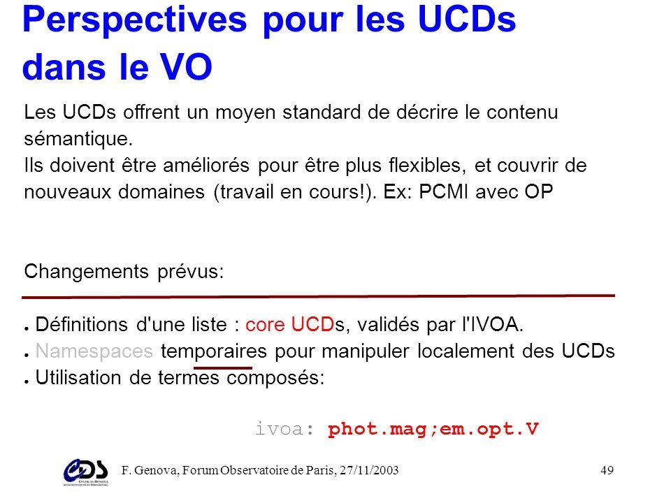 F. Genova, Forum Observatoire de Paris, 27/11/200348 Dans le contexte du VO Aladin (atlas interactif): contrôler l'apparence des sources d'un catalogu