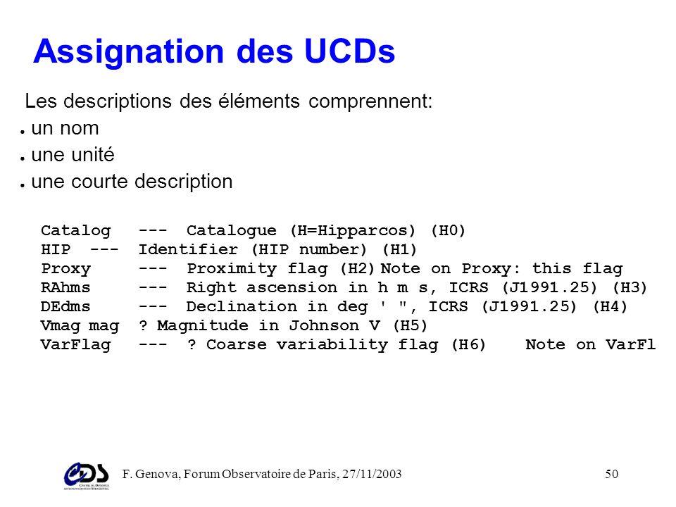 F. Genova, Forum Observatoire de Paris, 27/11/200349 Perspectives pour les UCDs dans le VO Les UCDs offrent un moyen standard de décrire le contenu sé
