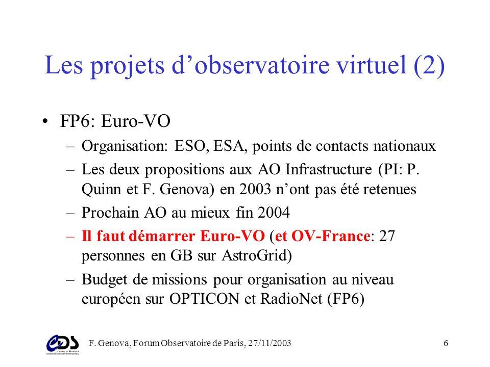 F. Genova, Forum Observatoire de Paris, 27/11/20035 Les projets dObservatoire Virtuel (1) Démarrage des projets: 2001 – Europe FP5 –Réseau thématique