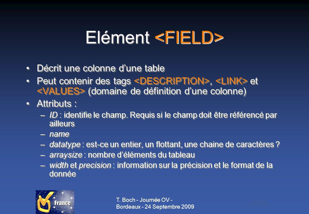 T. Boch - Journée OV - Bordeaux - 24 Septembre 2009 Elément Elément Décrit une colonne dune table Peut contenir des tags, et (domaine de définition du