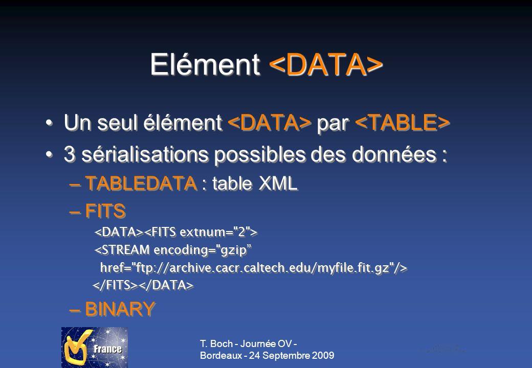 T. Boch - Journée OV - Bordeaux - 24 Septembre 2009 Elément Elément Un seul élément par 3 sérialisations possibles des données : –TABLEDATA : table XM