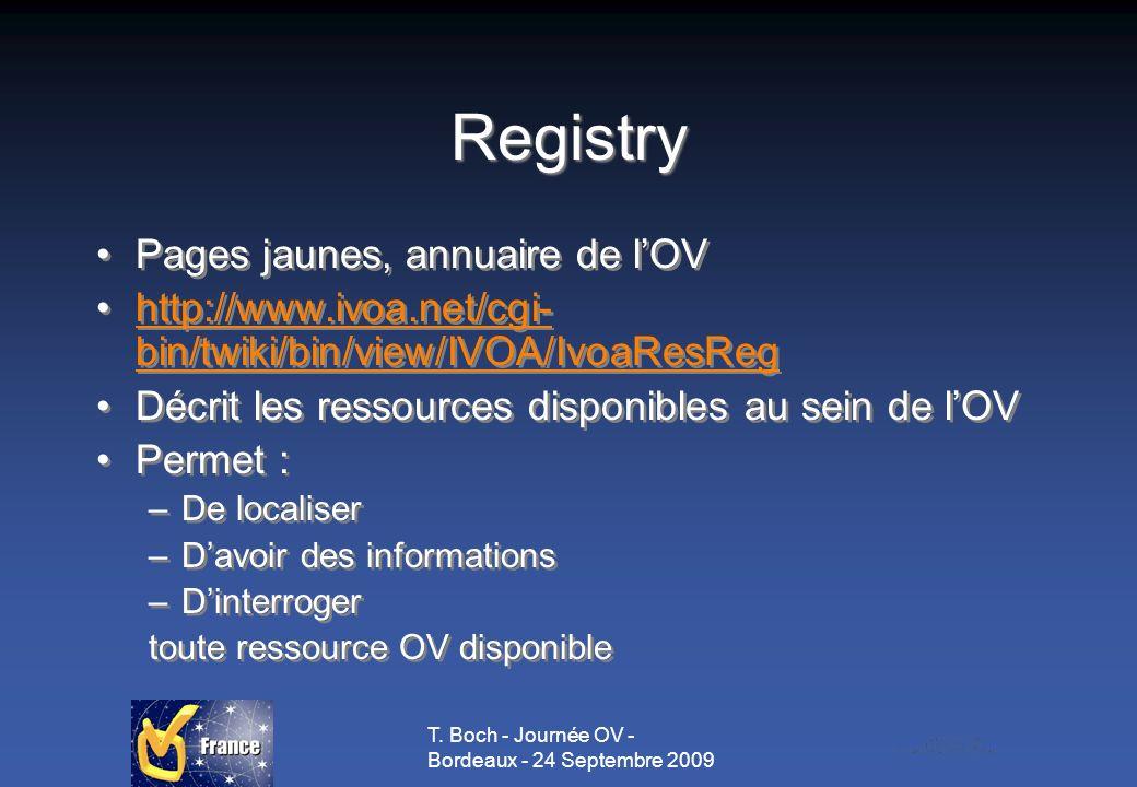 T. Boch - Journée OV - Bordeaux - 24 Septembre 2009 Registry Pages jaunes, annuaire de lOV http://www.ivoa.net/cgi- bin/twiki/bin/view/IVOA/IvoaResReg