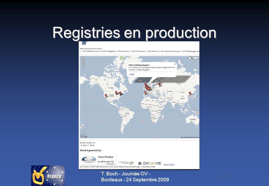 T. Boch - Journée OV - Bordeaux - 24 Septembre 2009 Registries en production