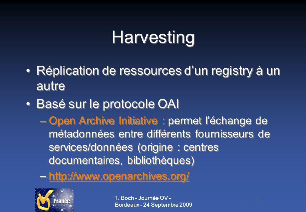 T. Boch - Journée OV - Bordeaux - 24 Septembre 2009 Harvesting Réplication de ressources dun registry à un autre Basé sur le protocole OAI –Open Archi