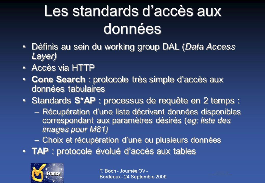 T. Boch - Journée OV - Bordeaux - 24 Septembre 2009 Les standards daccès aux données Définis au sein du working group DAL (Data Access Layer) Accès vi