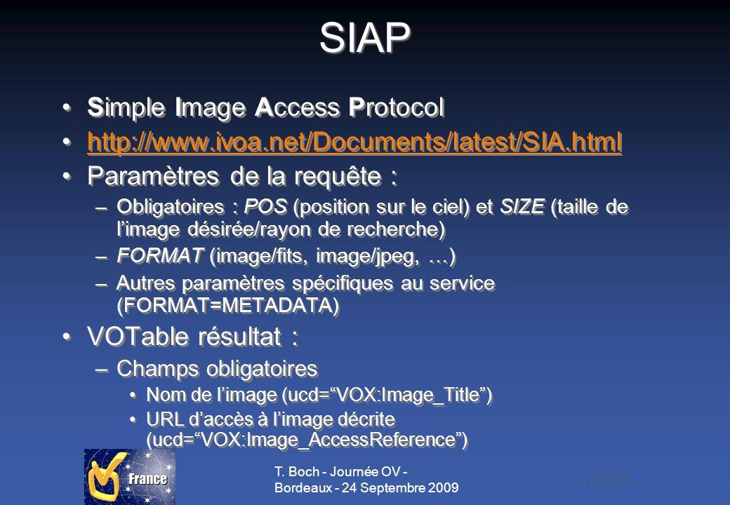 T. Boch - Journée OV - Bordeaux - 24 Septembre 2009 SIAP Simple Image Access Protocol http://www.ivoa.net/Documents/latest/SIA.html Paramètres de la r
