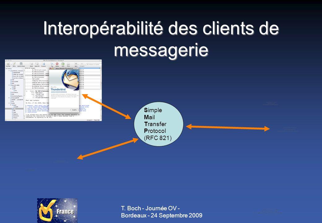 T. Boch - Journée OV - Bordeaux - 24 Septembre 2009 Interopérabilité des clients de messagerie Simple Mail Transfer Protocol (RFC 821)