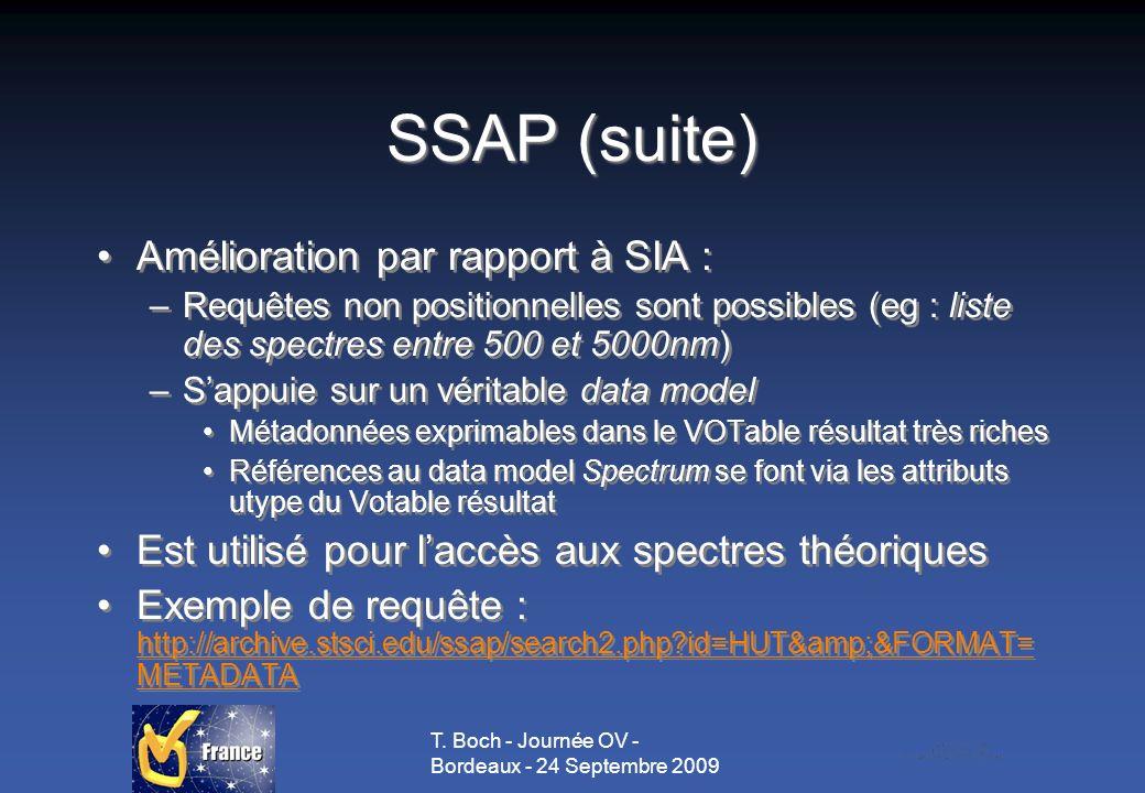 T. Boch - Journée OV - Bordeaux - 24 Septembre 2009 SSAP (suite) Amélioration par rapport à SIA : –Requêtes non positionnelles sont possibles (eg : li
