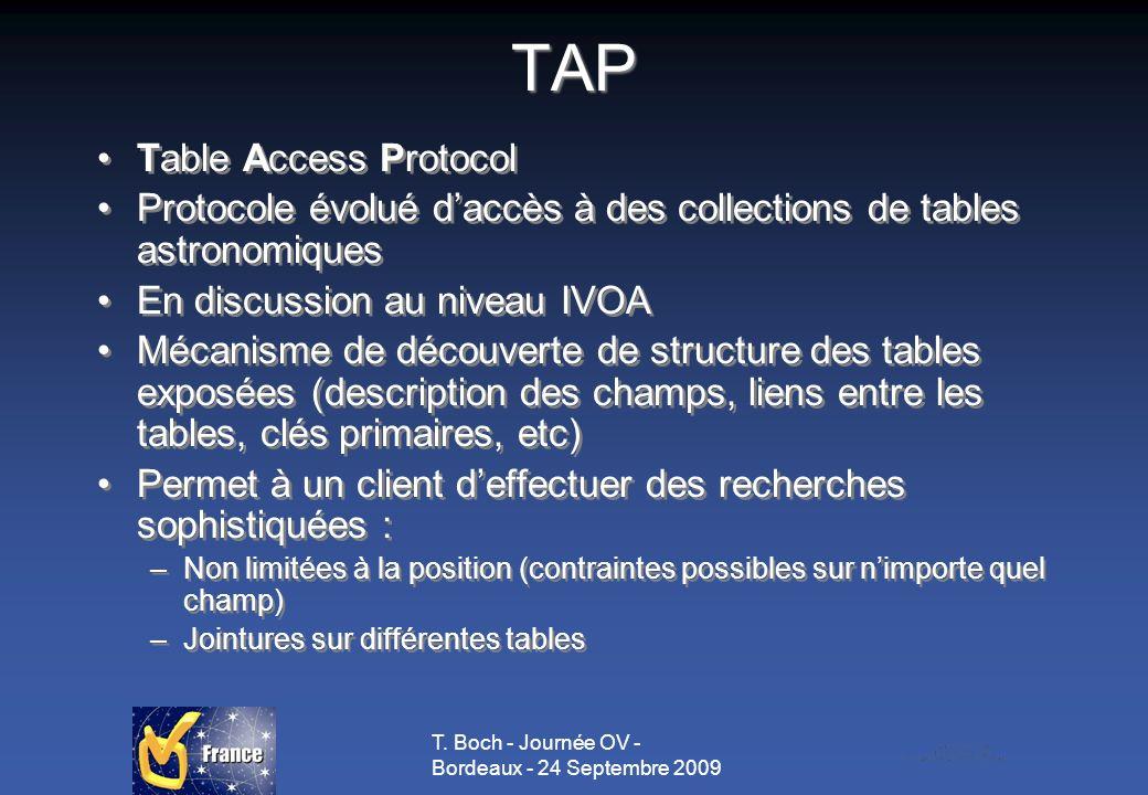 T. Boch - Journée OV - Bordeaux - 24 Septembre 2009TAP Table Access Protocol Protocole évolué daccès à des collections de tables astronomiques En disc
